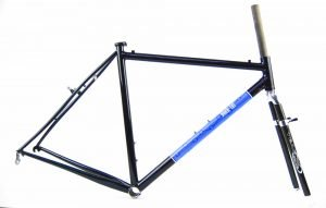 Simworks cyclocross bike frame featuring Wound Up Composite Cycles carbon fiber Team X cx fork with canti brake bosses